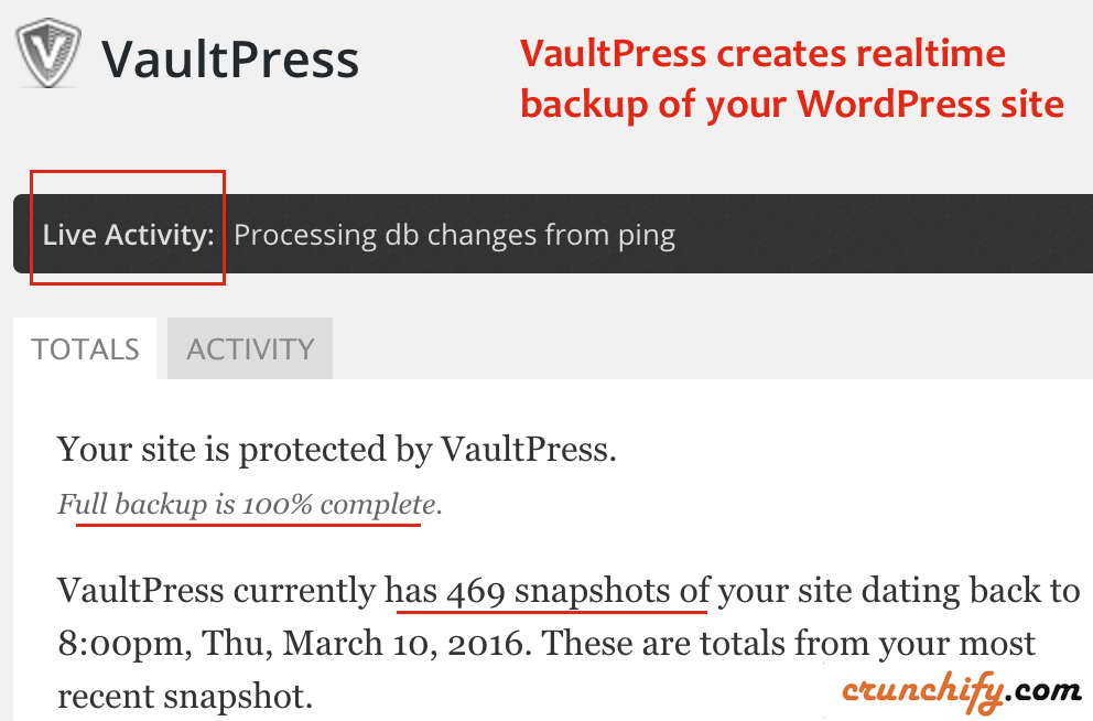 VaultPress creates realtime backup of your WordPress site