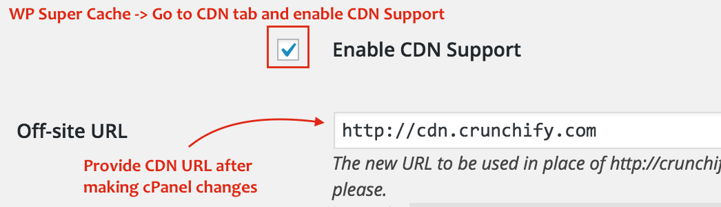 WP Super Cache and CDN setting