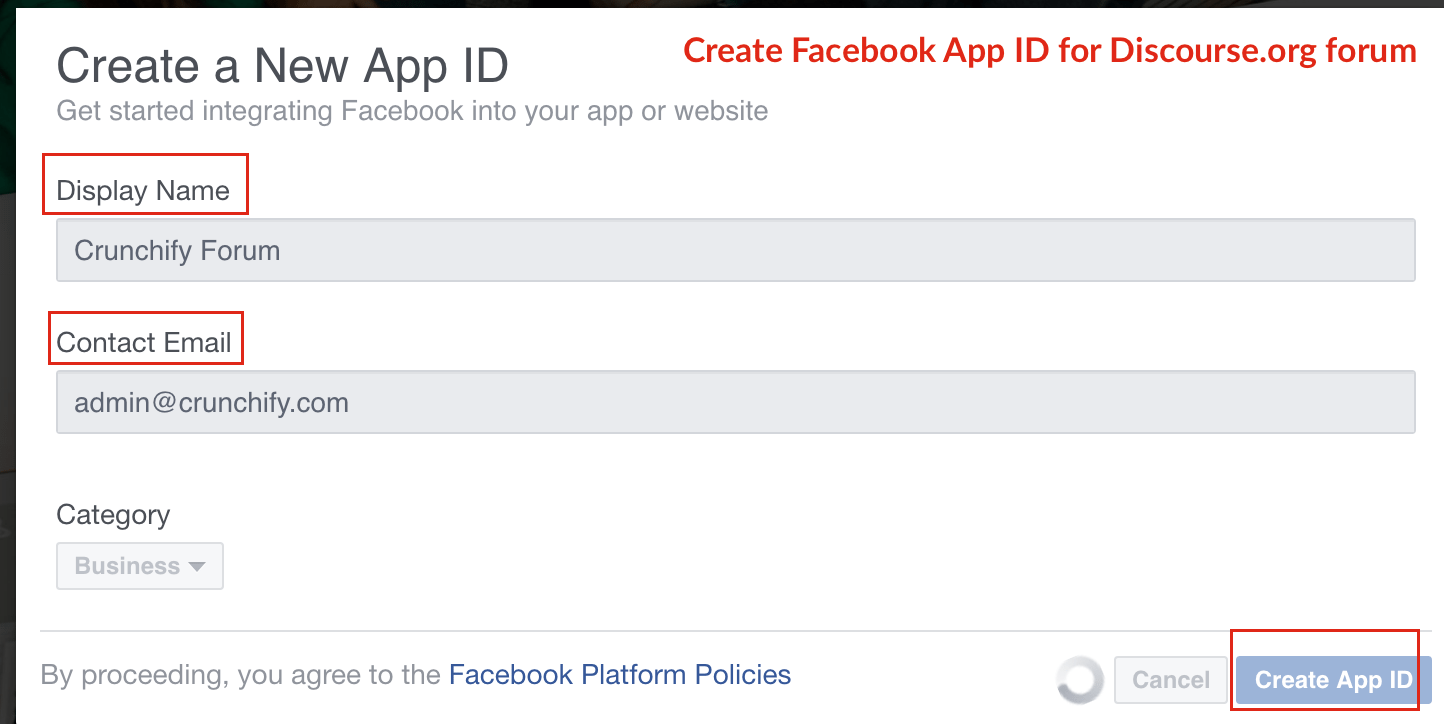 Create Facebook Application and App ID