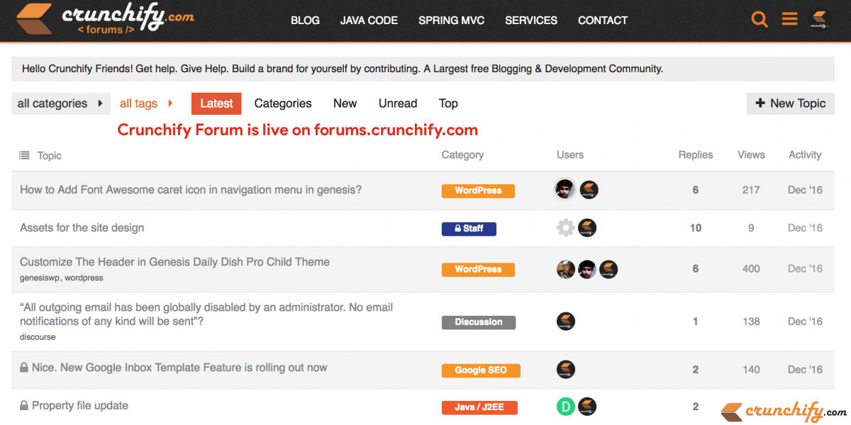 Get help, Give help & Get Discovered – Crunchify forum is live on forums.crunchify.com