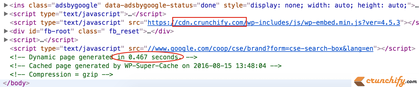 Crunchify Page Loading in less than half a second