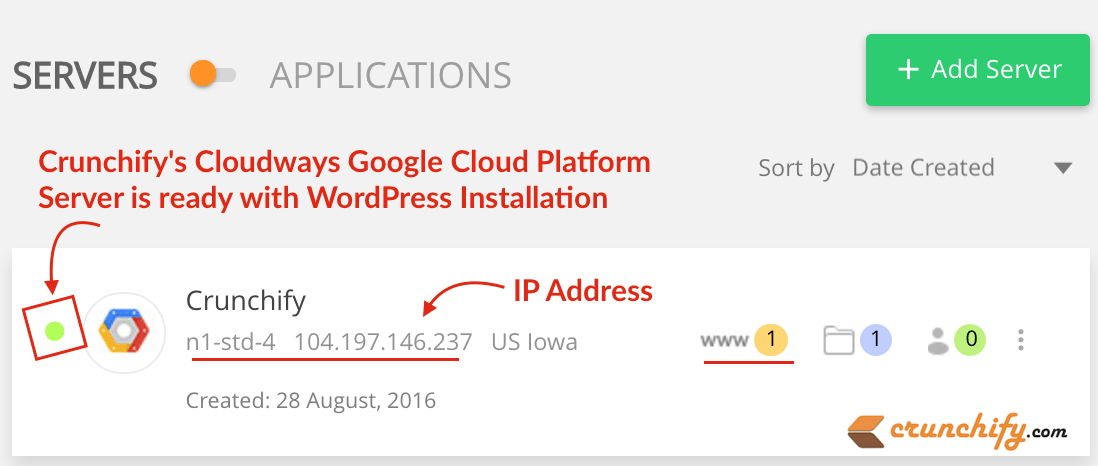 Crunchify's Cloudways Google Cloud Platform Server is ready with WordPress Installation