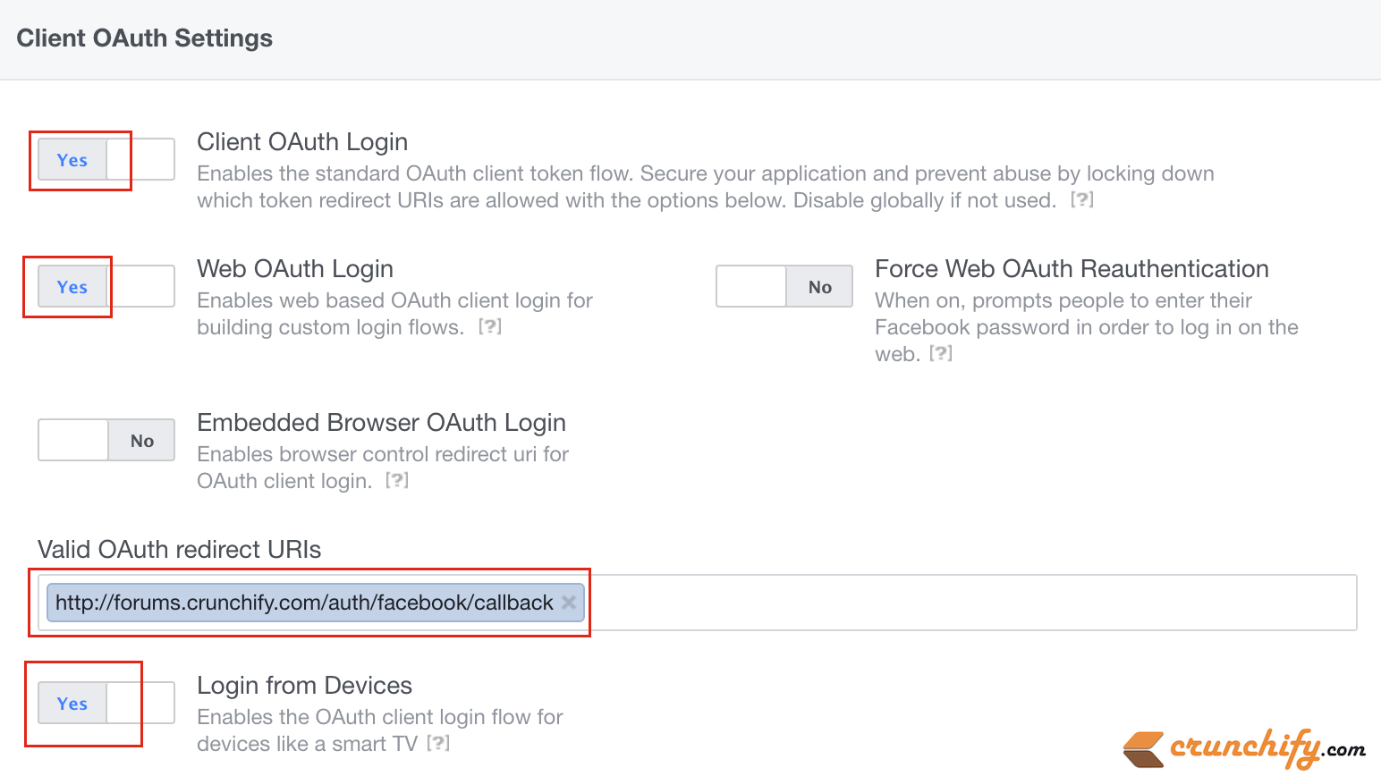 Facebook Client OAuth Settings