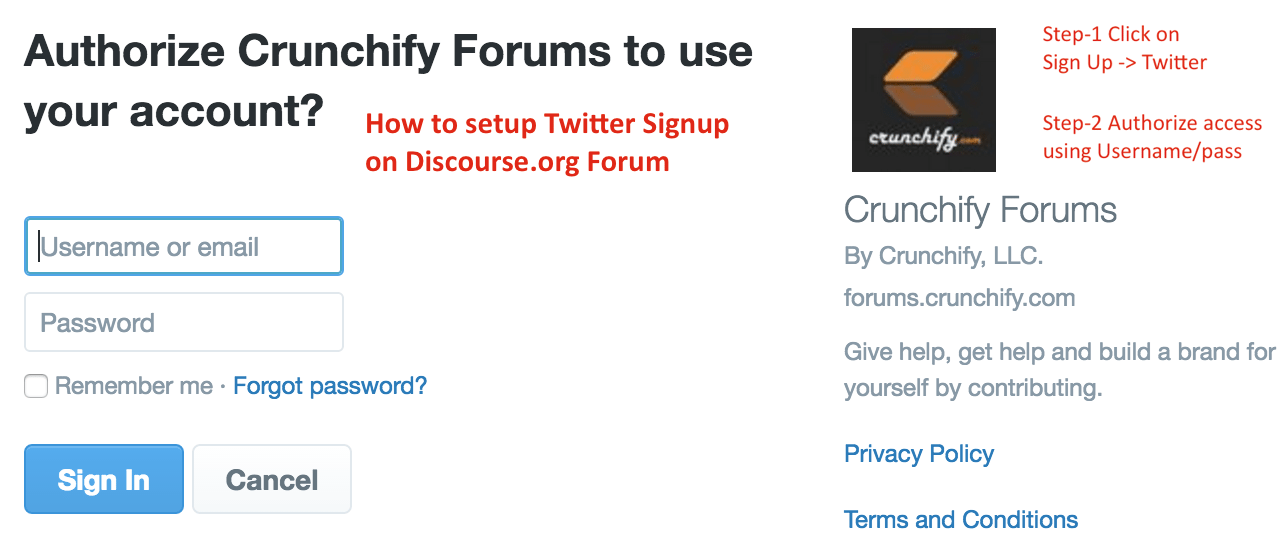 How to setup Twitter Signup on Discourse.org Forum