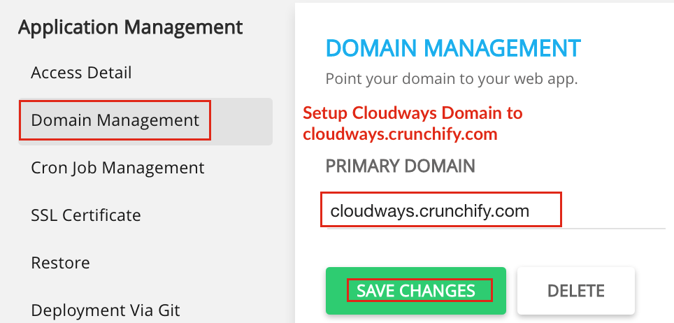 Setup Cloudways Domain to cloudways.crunchify.com