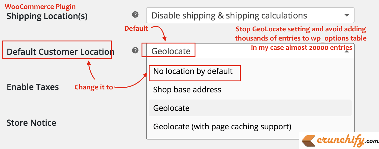 WooCommerce - Stop GeoLocate setting and avoid adding thousands of entries to wp_options table - in my case almost 20000 entries
