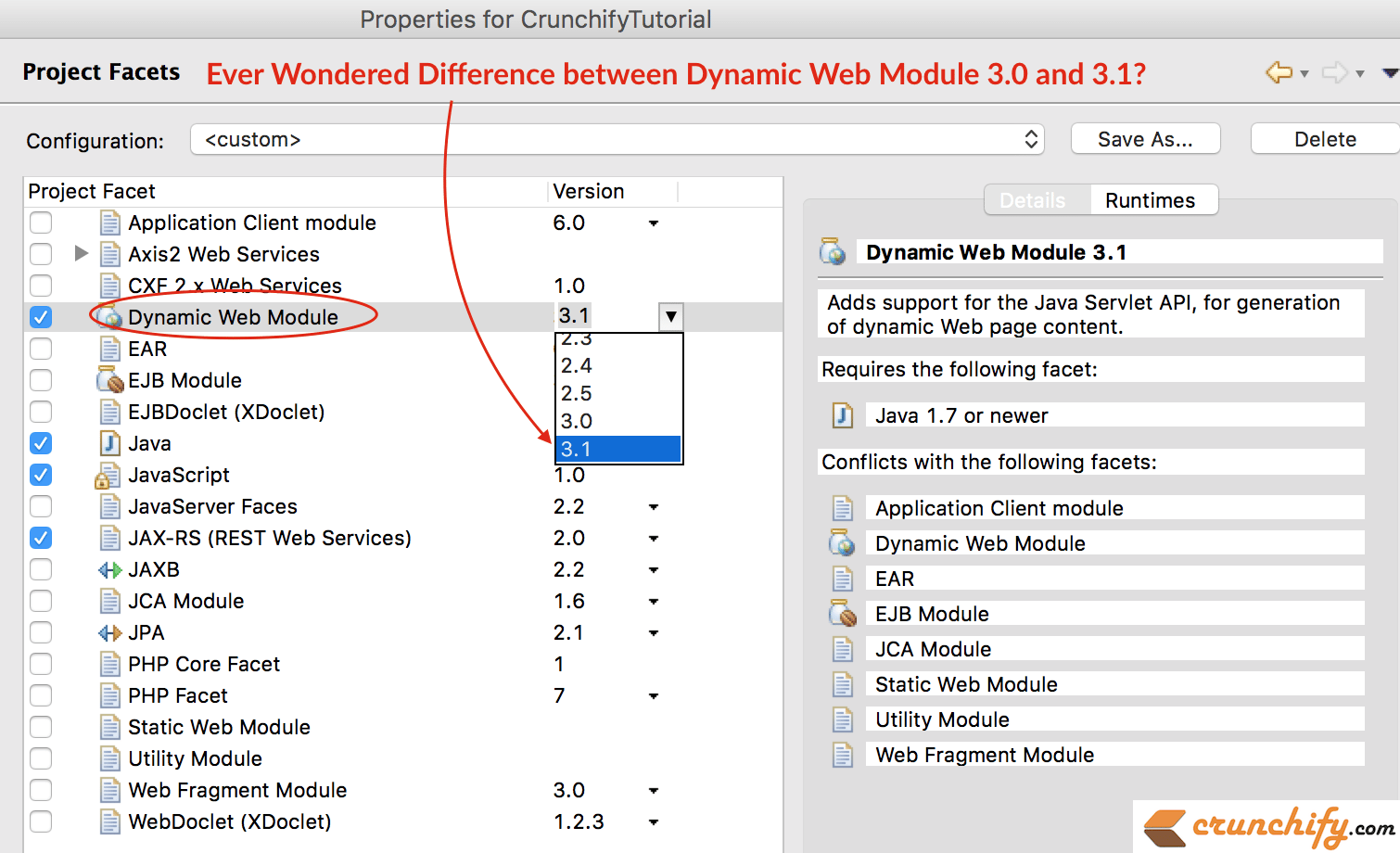 Ever wondered difference between Dynamic Web Module 3.0 and 3.1 - Crunchify Tips