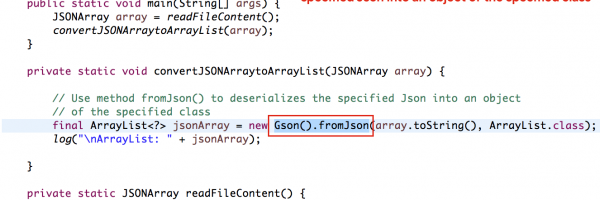How to use Gson -> fromJson() to convert the specified JSON into an Object of the Specified Class
