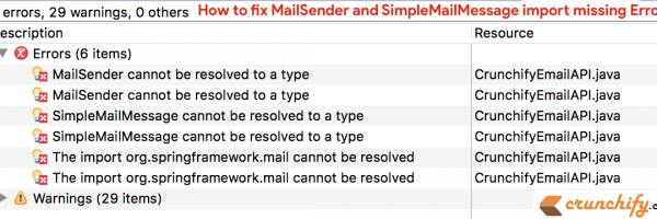 How to fix Spring MVC MailSender and SimpleMailMessage import missing Error?