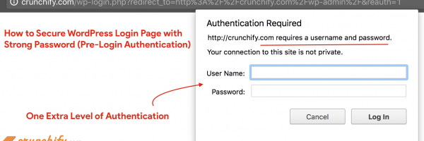 How to Secure WordPress Login Page (wp-admin) with additional Strong Password (Pre-Login Authentication)