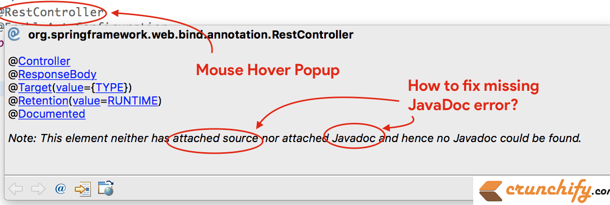 """In Eclipse How to Fix """"This element neither has attached source nor attached Javadoc and hence no Javadoc could be found"""" issue"""