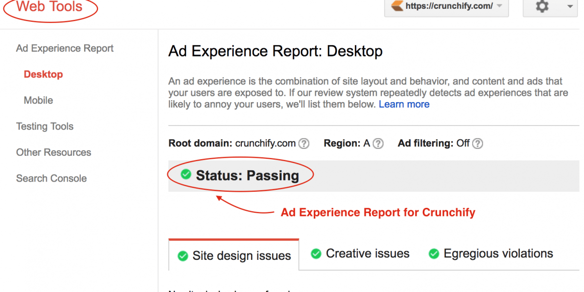 [Web Tools] Ad Experience Report by Google under Webmaster Tools Page