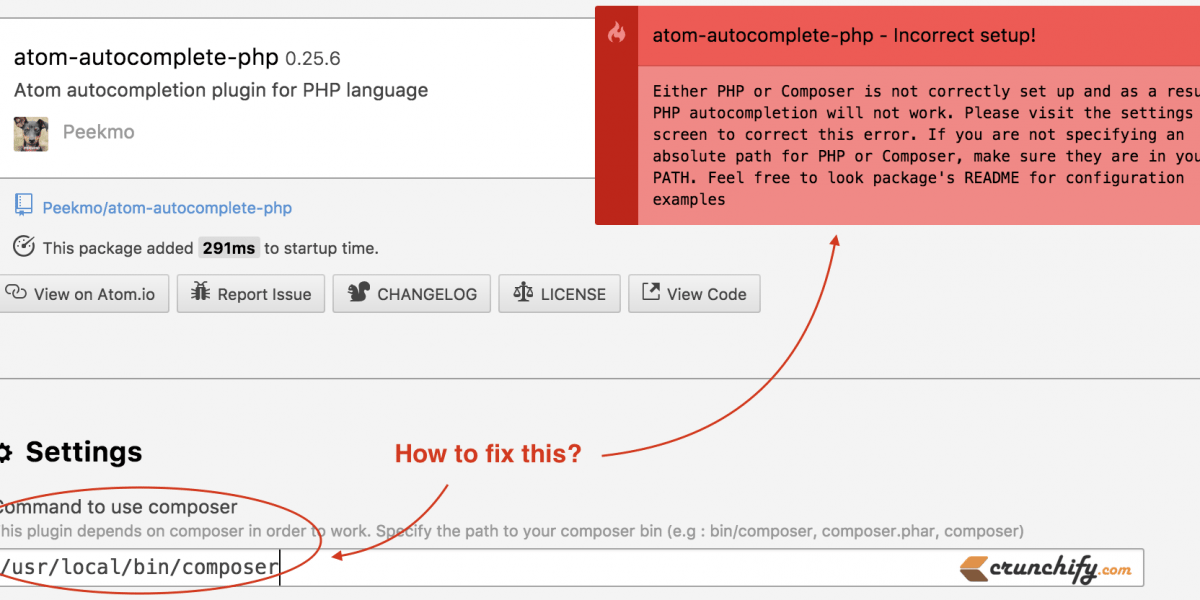 How to fix atom-autocomplete-php Incomplete Error because of missing composer.phar in Atom.io?