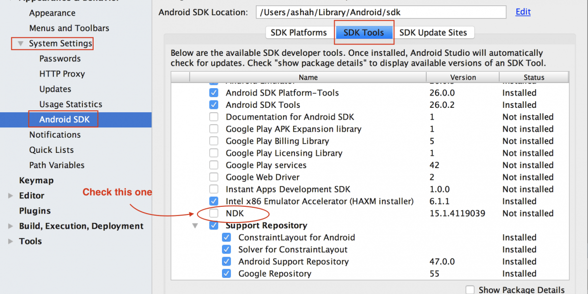 How to fix Gradle sync failed, NDK not configured Error in Android Studio?