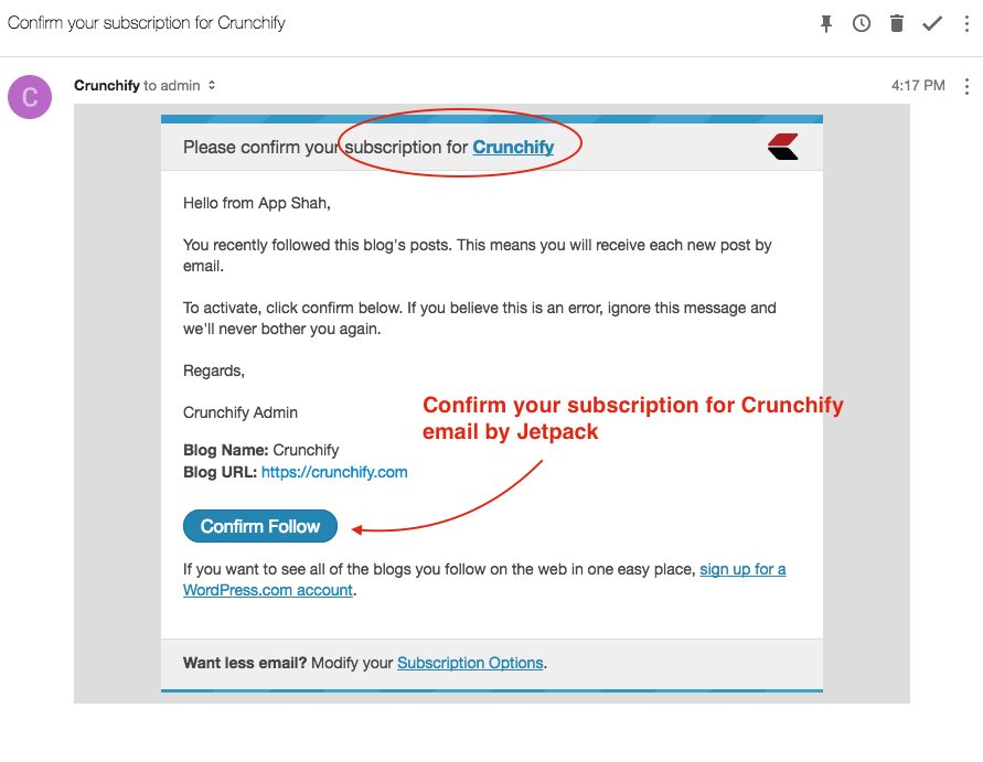 Confirm your subscription for Crunchify email by Jetpack