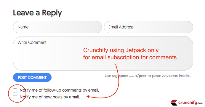 Crunchify using Jetpack only for email subcription for comments