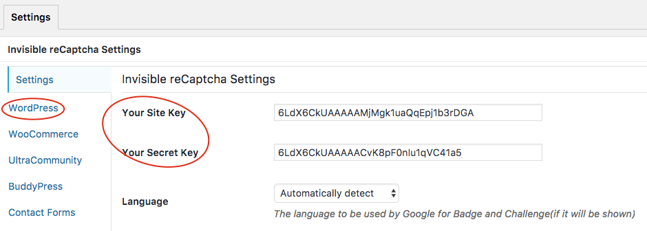 WordPress Invisible Recaptcha Settings