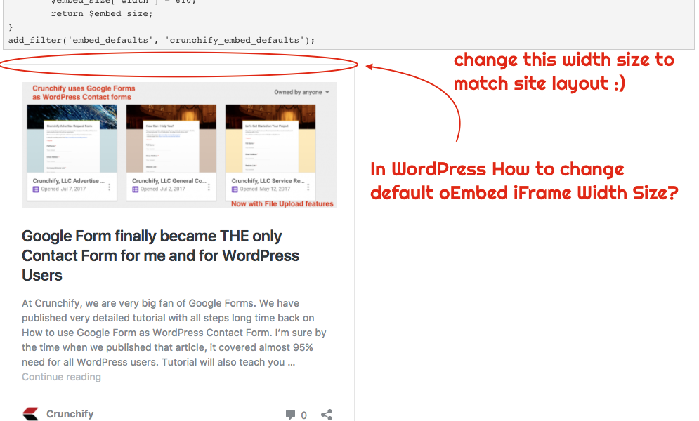 In WordPress How to change default oEmbed iFrame Width Size?