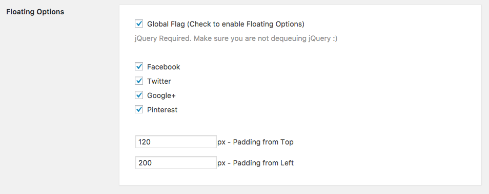 Optimized Social Sharing Floating Options