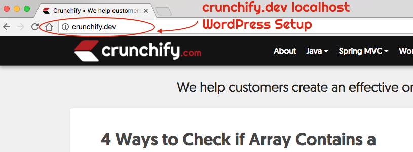 crunchify.dev localhost WordPress setup