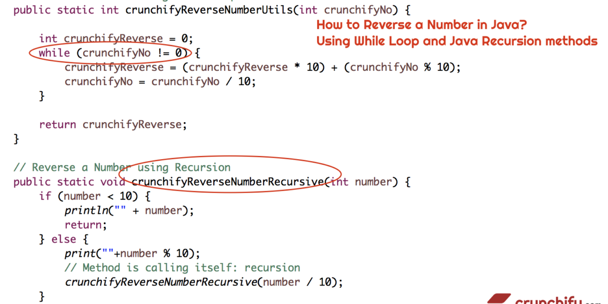 How to Reverse a Number in Java? Using While Loop and Java Recursion methods