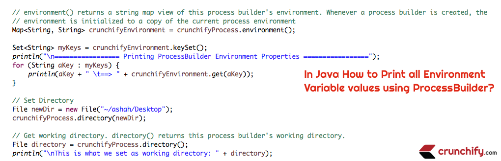 In Java How to Print all Environment Properties value using ProcessBuilder?