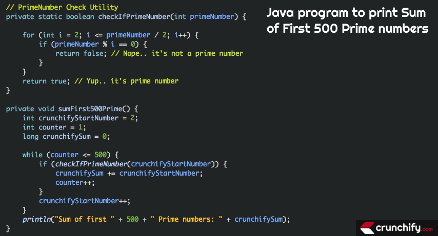 Java program to print Sum of First 500 Prime numbers