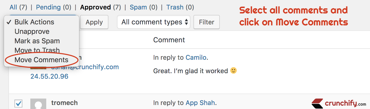 Select all comments and click on Move Comments