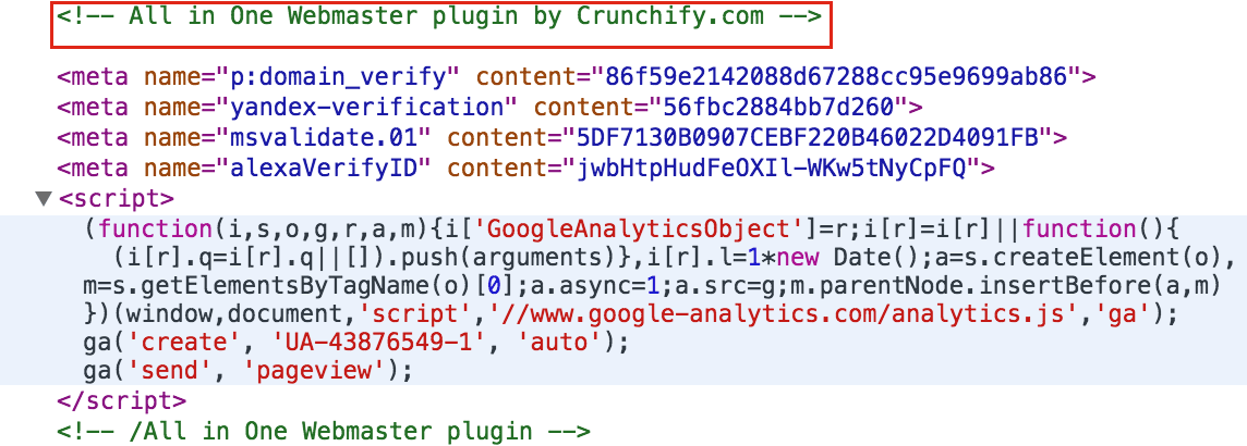 All in One Webmaster - Crunchify Head Section