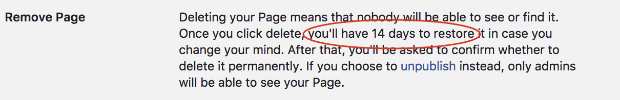 Facebook provides an option to delete page only after 14 days