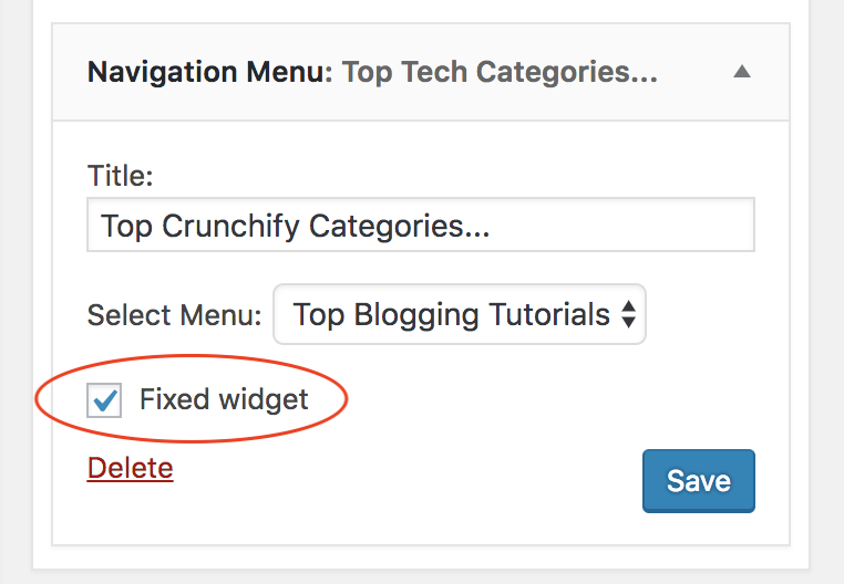 Q2W3 Fixed Widget - Sidebar Options