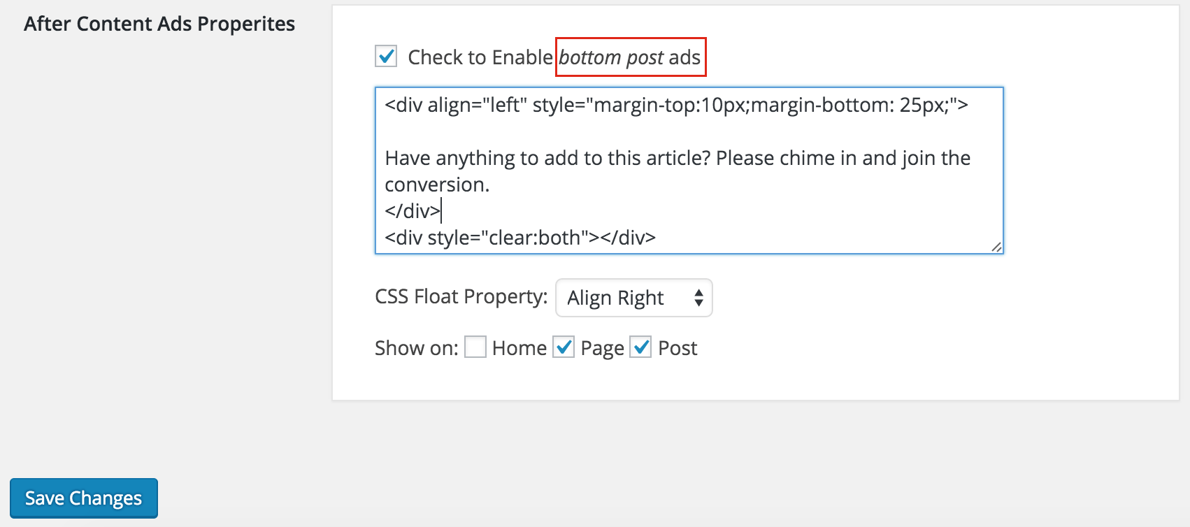 Google Adsense Ads Manager Bottom Post Section