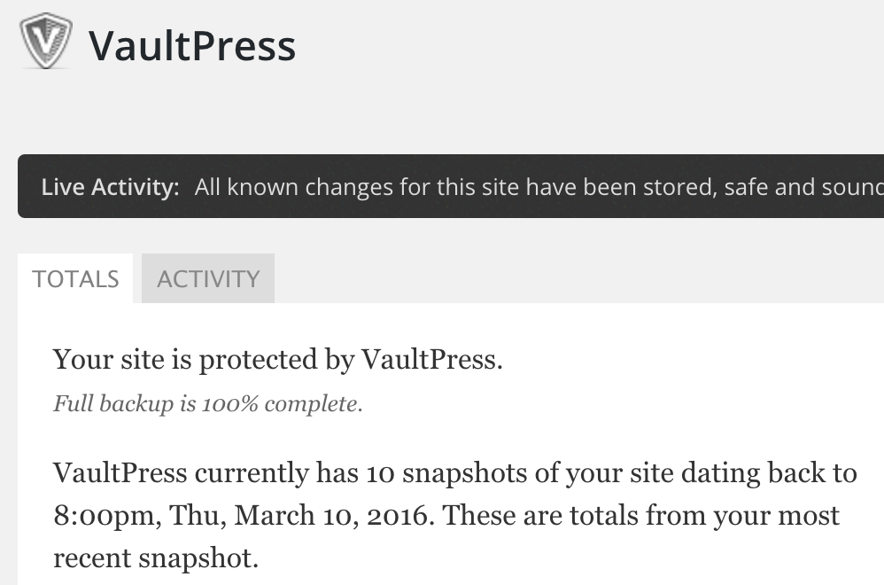 VaultPress Live Activity from Admin Panel