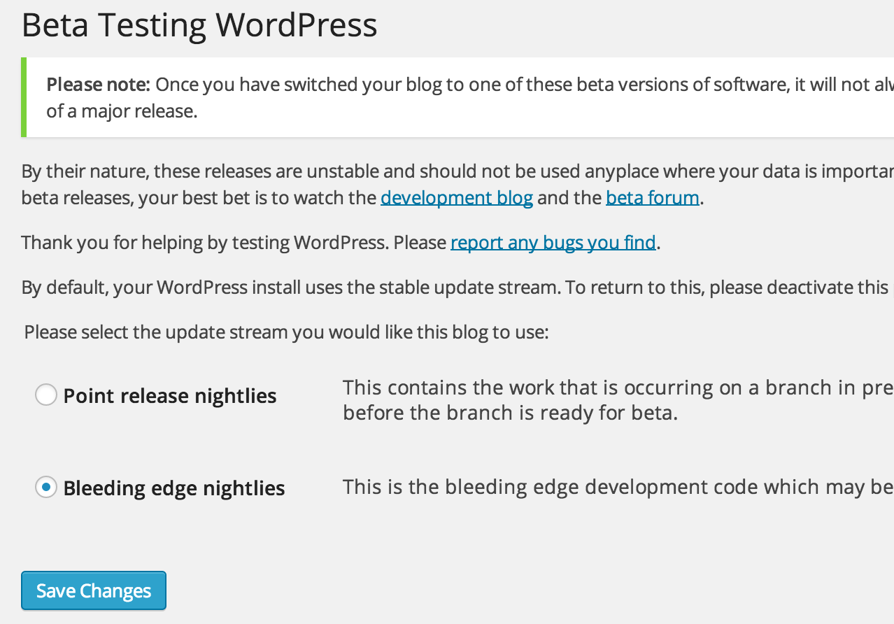 WordPress Beta Testing Plugin - Bleeding edge nightlies
