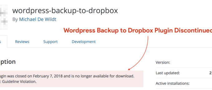 wordpress backup to dropbox plugin discontinued