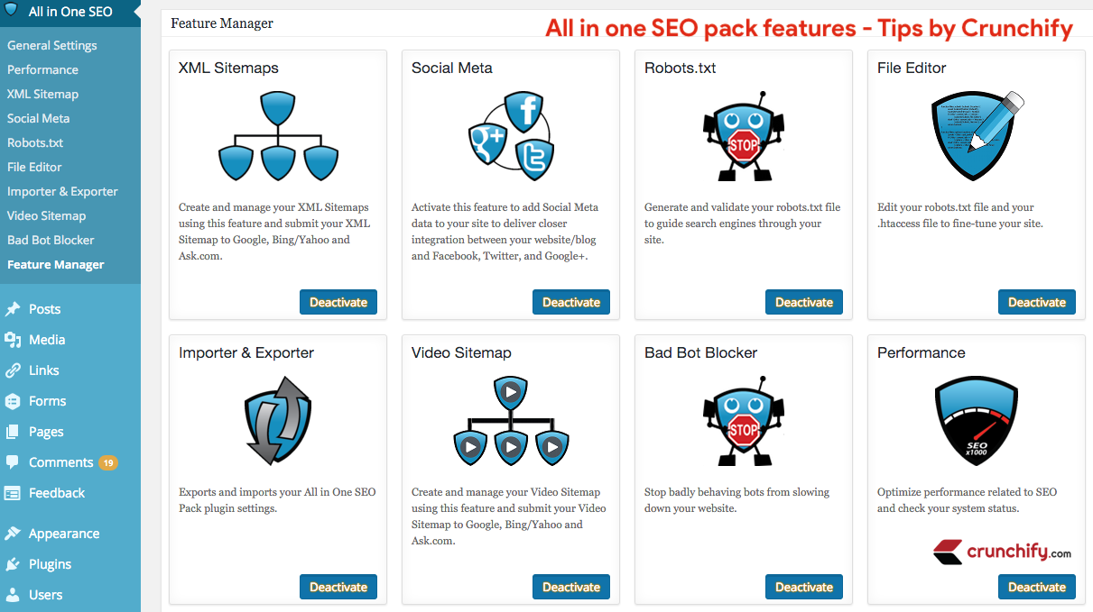 All in one SEO pack Features - tips by Crunchify