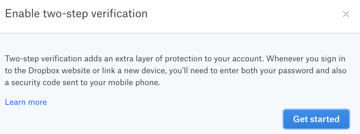 Dropbox two step authentication getting started