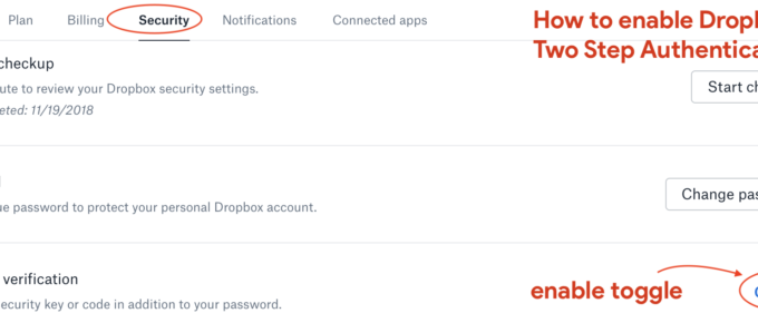 Enable Dropbox Two Step Authentication
