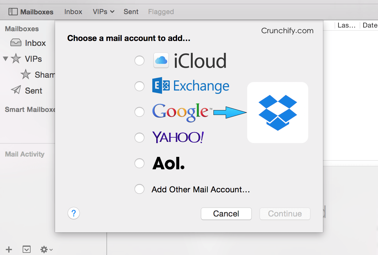 Mac OS X Mail App to Dropbox