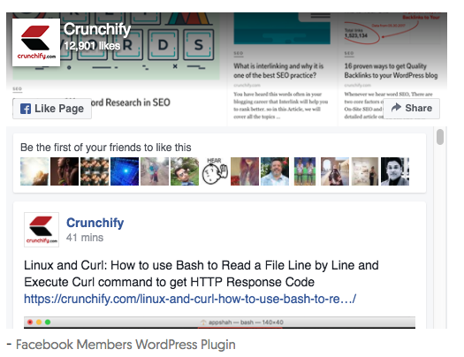 Facebook Members / Page Like box WordPress Plugin • Crunchify