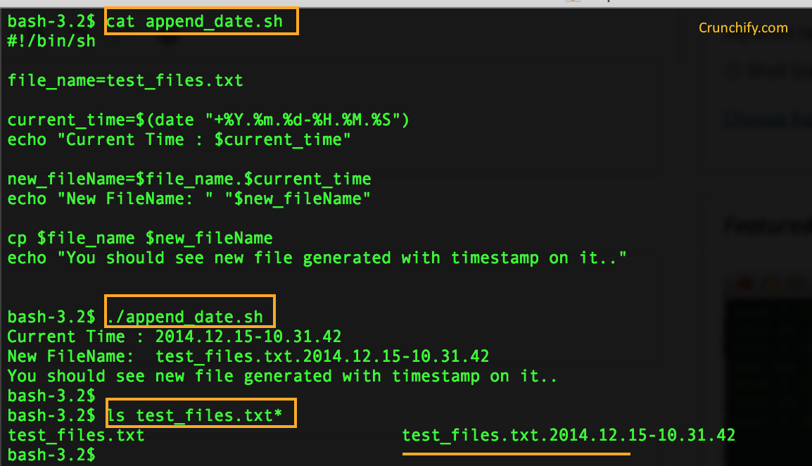 Shell Script: Append TimeStamp to file name • Crunchify
