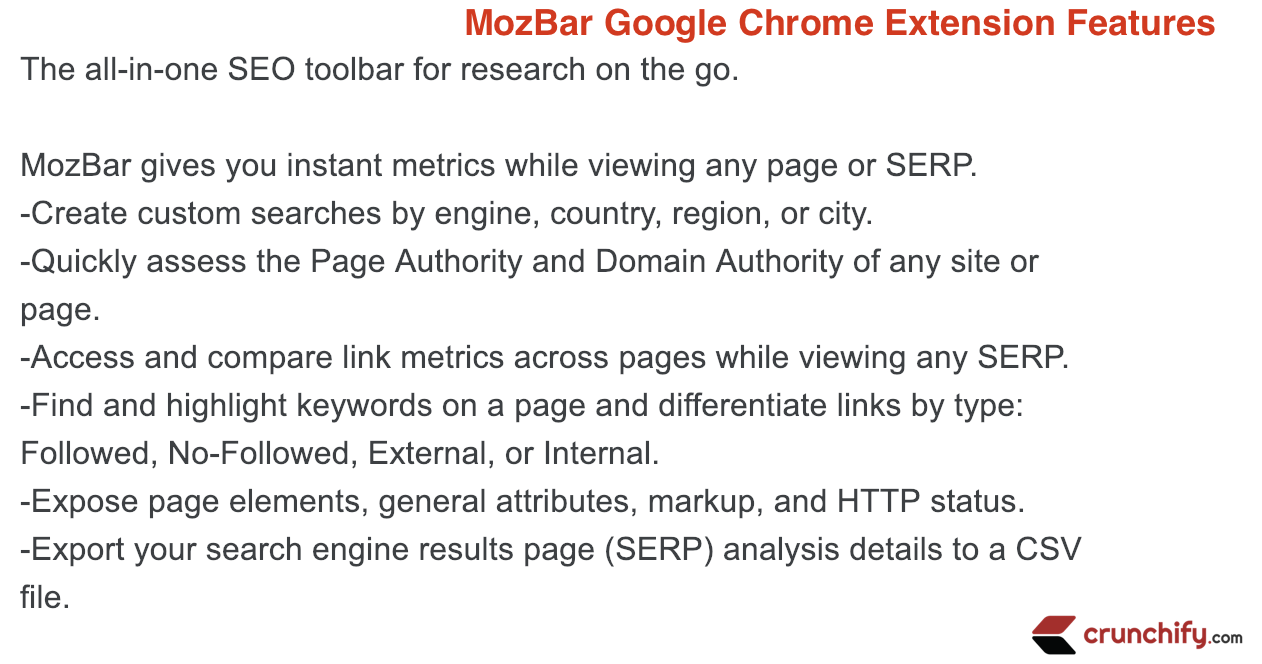 MozBar Google Chrome Extension Features