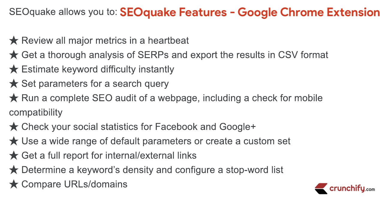 SEOquake Features - Google Chrome Extension