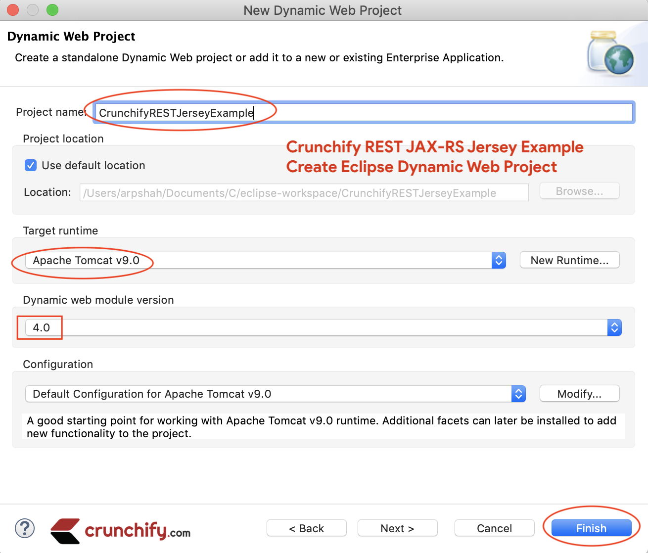 Create Crunchify Eclipse Dynamic Web Project