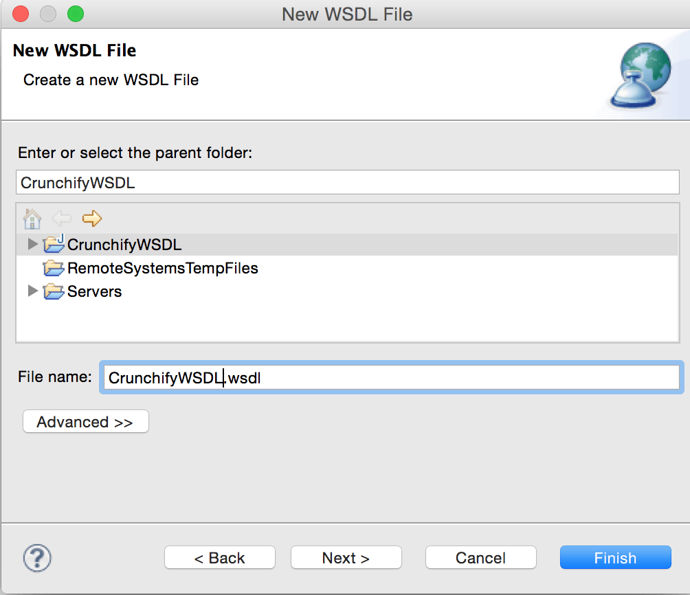 Create New WSDL file CrunchifyWSDL