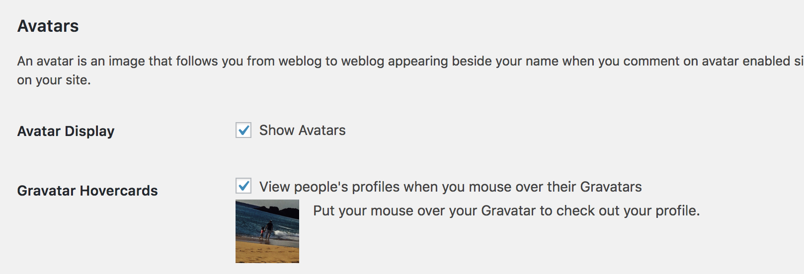 Gravatar Hovercard Settings - WordPress