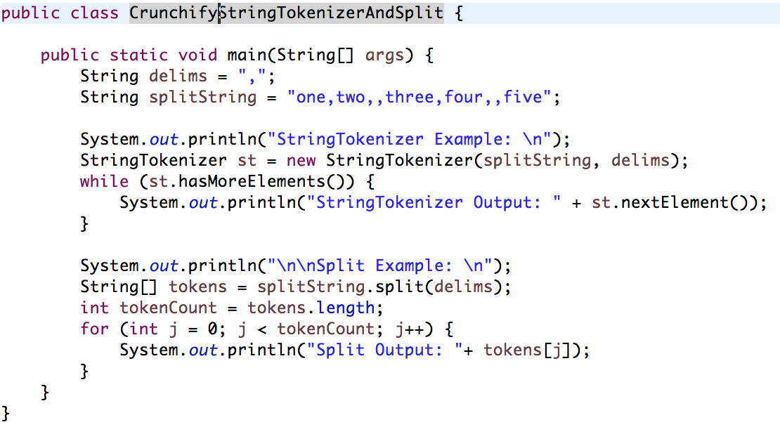 Java Split and String Tokenizer Example by Crunchify
