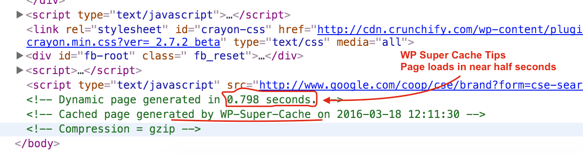 WP Super Cache Caches your page for faster page load time