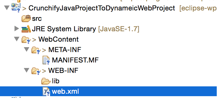 Web.xml file for Dynamic Web Project