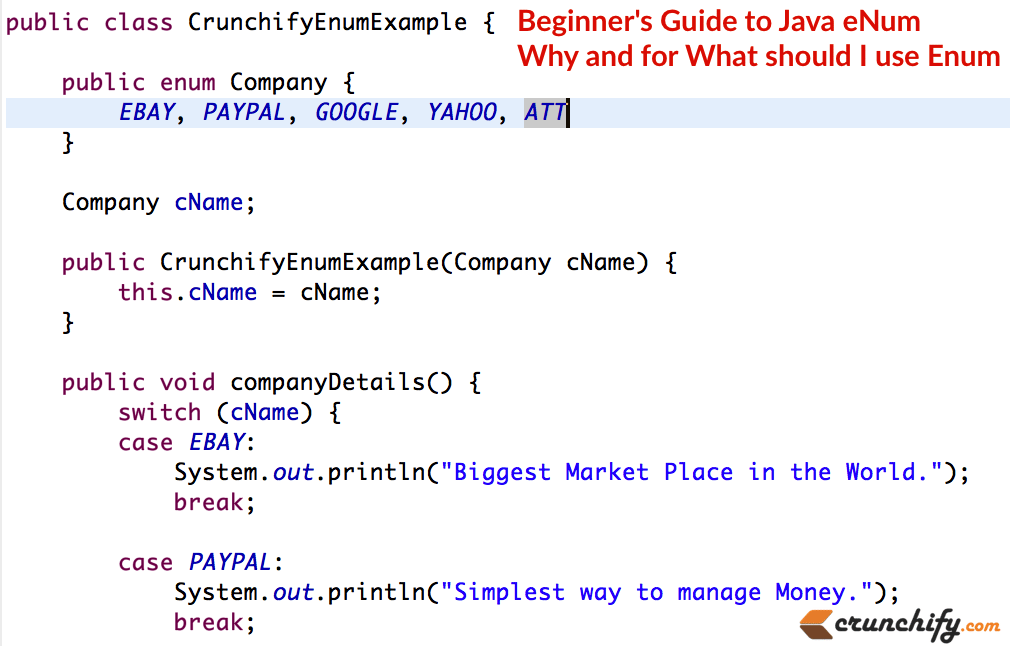 Beginner's Guide to Java eNum - Why and for What should I